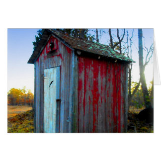 Rustic Old Junk Yard Outhouse Card