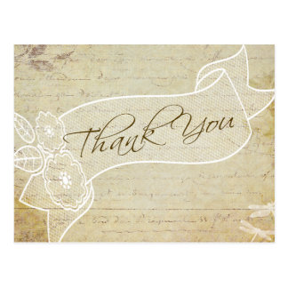 Rustic Old Lace Vintage Wedding Thank You Postcard