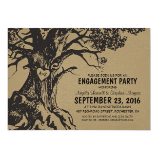 Rustic old oak tree engagement party card