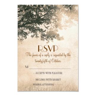 Rustic old oak tree wedding RSVP cards 9 Cm X 13 Cm Invitation Card