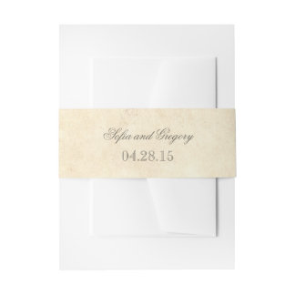 Rustic Old Paper Shabby Wedding Invitation Belly Band