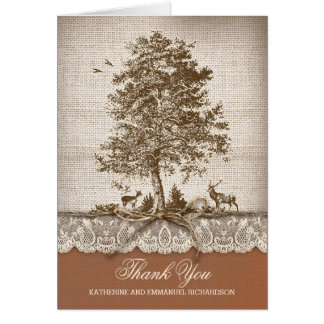 Rustic old tree burlap lace wedding thank you note card