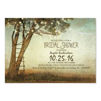"Rustic old tree & string lights bridal shower 5"" x 7"" invitation card"