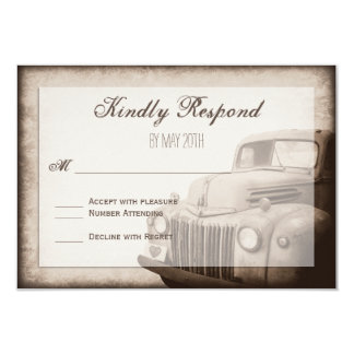 Rustic Old Truck Vintage Country Wedding RSVP Card 9 Cm X 13 Cm Invitation Card