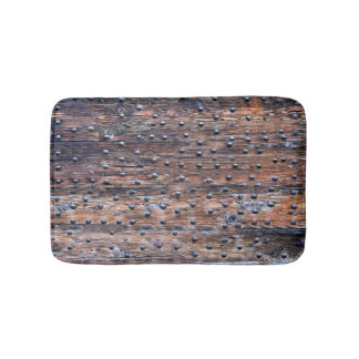 Rustic Old Weathered Wood with Nails Bath Mat