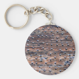 Rustic Old Weathered Wood with Nails Key Ring