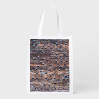 Rustic Old Weathered Wood with Nails Reusable Grocery Bag