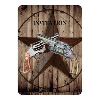 rustic old western dual gun 13 cm x 18 cm invitation card