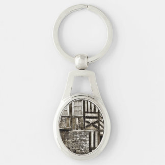 Rustic Old Wood and Stone House Silver-Colored Oval Keychain