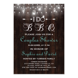 Rustic Old Wood Mason Jars String Lights I DO BBQ Card