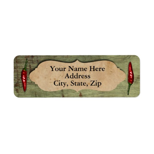 Rustic Old Wood Red Peppers Return Address Label