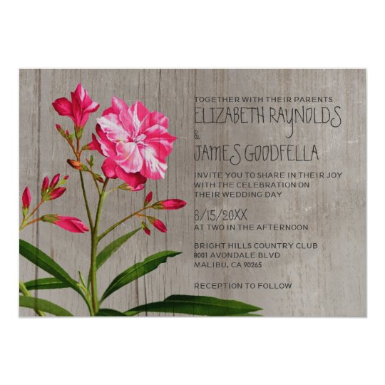 Rustic Oleander Wedding Invitations