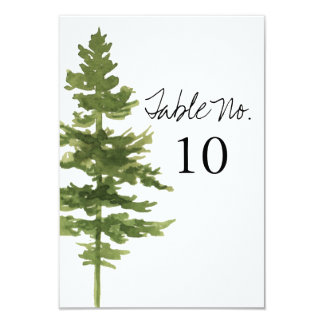 Rustic Ombre Watercolor Forest Weddin Table Number
