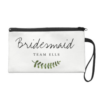 Rustic Ombre Watercolor Forest Wedding Bridesmaid Wristlet