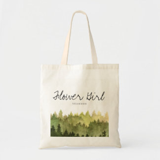 Rustic Ombre Watercolor Forest Wedding Flower Girl Tote Bag