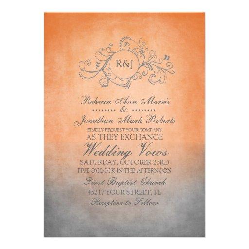 Rustic Orange and Grey Bohemian Wedding Invitation
