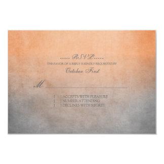 Rustic Orange and Grey Bohemian Wedding RSVP Card
