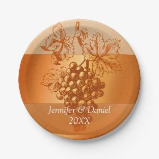 Rustic Orange Custom Wine Label Style Fall Wedding 7 Inch Paper Plate