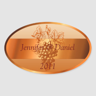 Rustic Orange Custom Wine Labels Fall Wedding Oval Sticker
