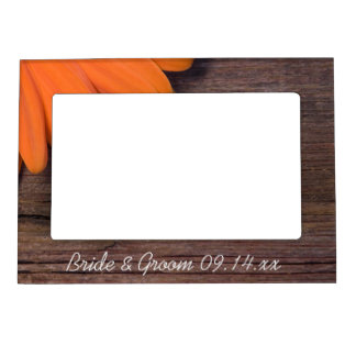 Rustic Orange Daisy and Barn Wood Country Wedding Magnetic Frame