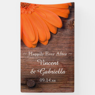Rustic Orange Daisy and Barn Wood Wedding Banner