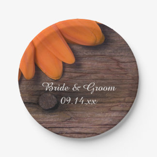Rustic Orange Daisy Barn Wood Country Wedding Paper Plate