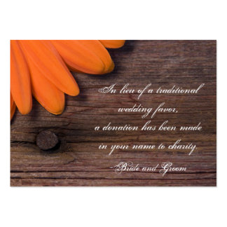Rustic Orange Daisy Country Wedding Charity Favor Pack Of Chubby Business Cards
