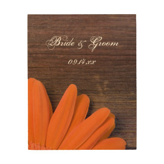 Rustic Orange Daisy Country Wedding Keepsake Wood Wall Decor