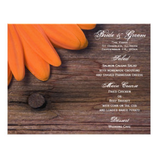 Rustic Orange Daisy Country Wedding Menu 21.5 Cm X 28 Cm Flyer