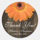 Rustic Orange Daisy Wedding Thank You Sticker
