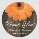 Rustic Orange Daisy Wedding Thank You Sticker