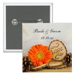 Rustic Orange Daisy Woodland Wedding 15 Cm Square Badge