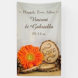 Rustic Orange Daisy Woodland Wedding Banner