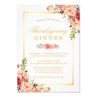 Rustic Orange Floral Chic Gold Thanksgiving Dinner Card