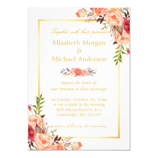 Rustic Orange Floral Chic Gold White Fall Wedding 13 Cm X 18 Cm Invitation Card
