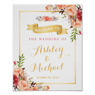 Rustic Orange Floral Fall Wedding Reception Sign Poster