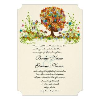 Rustic Orange Pink Aqua Die Cut Love Tree Wedding Invitations