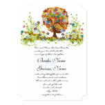 Rustic Orange Pink Aqua Die Cut Love Tree Wedding 13 Cm X 18 Cm Invitation Card