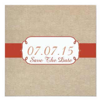 Rustic Orange Rust and Beige Burlap Save The Date Invitations