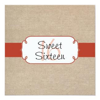 Rustic Orange Rust and Beige Burlap Sweet Sixteen 13 Cm X 13 Cm Square Invitation Card