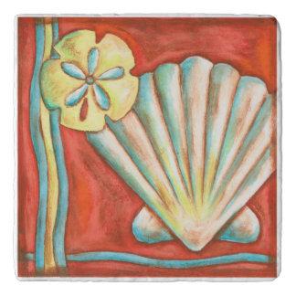 Rustic Orange Seashells Trivet
