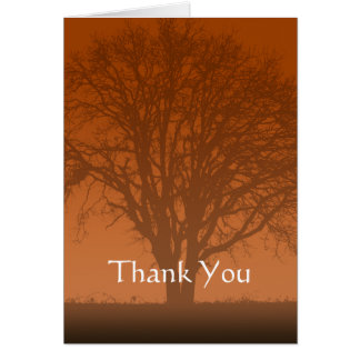Rustic Orange Tree of Life Thank You Card