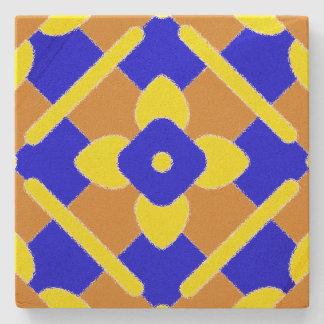 Rustic Orange Yellow And Blue Spanish Tile Coaster Stone Beverage Coaster