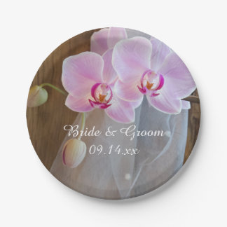 Rustic Orchid Elegance Country Wedding Paper Plate