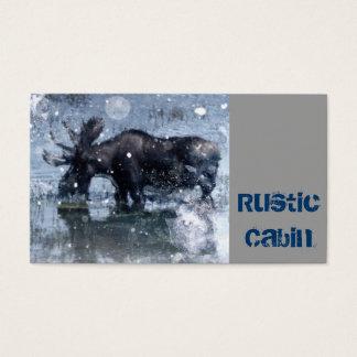 Rustic outdoorsman  wilderness wildlife bull moose business card