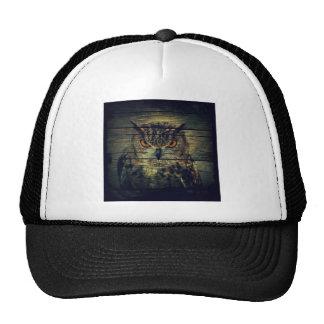 rustic owl on barnboard design hats