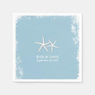 Rustic Pair of Starfish Beach Wedding Paper Napkins