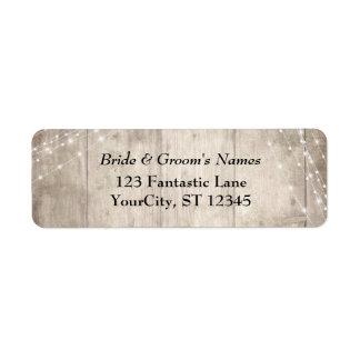 Rustic Pale Brown Wood White Light Strings Wedding Return Address Label