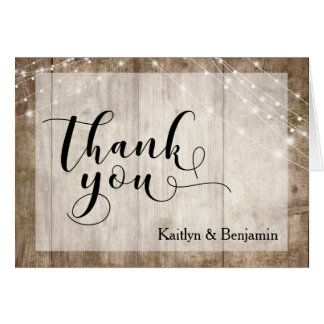 Rustic Pale Brown Wood & White Lights Thank You Card