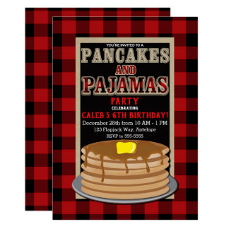 Rustic Pancakes & Pajamas Red Black Buffalo Plaid Card